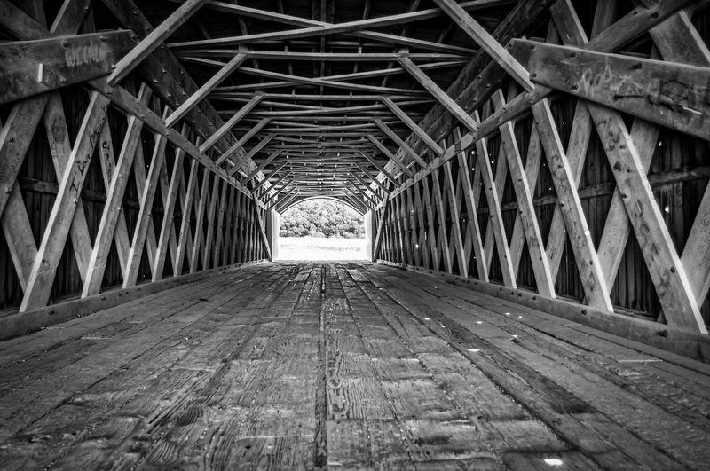 Empty old wooden bridge