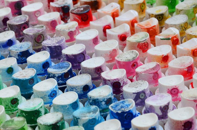 Full frame shot of multi colored bottle caps