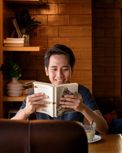 smiling on book