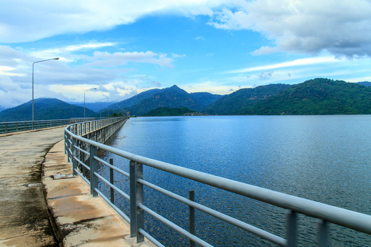 Dam in Thailand. Barrier Beauty In Nature Cloud - Sky Dam Day Idyllic Lake Mountain Mountain Range Nature No People Non-urban Scene Outdoors Railing Scenics - Nature Sky Tranquil Scene Tranquility Water