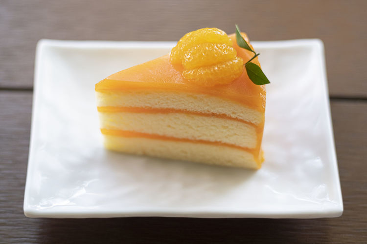 Close-up of cake slice in plate