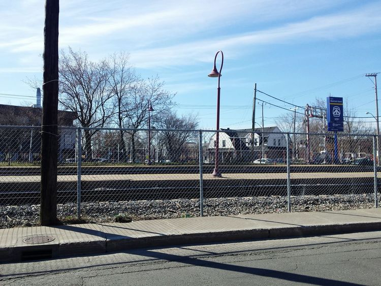 Urbanphotography Platform train station Sky Wire Fencing View From My Car Window Sky Ligth And Shadow walking around Montreal, Canada