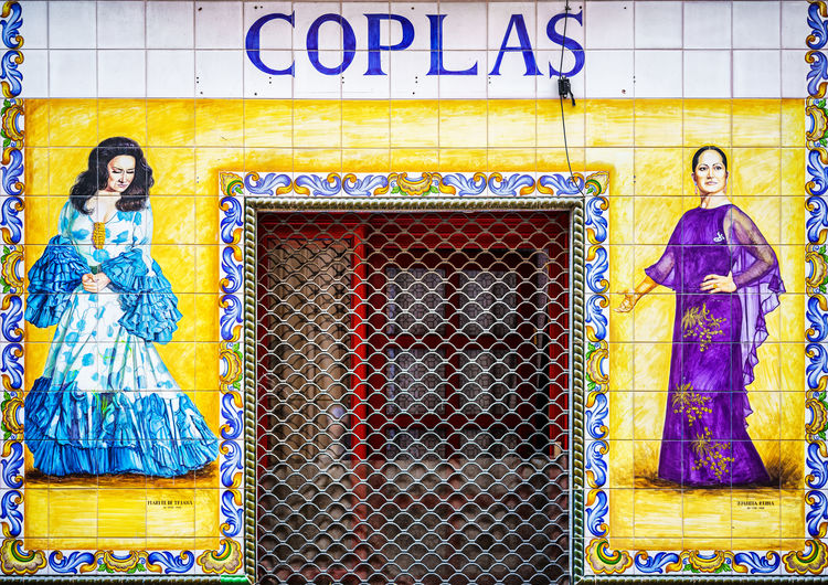 Coplas Madrid Spain Sightseeing Sign Hand Painted Painted Tiles Shop Front Store Front Traditional Dress