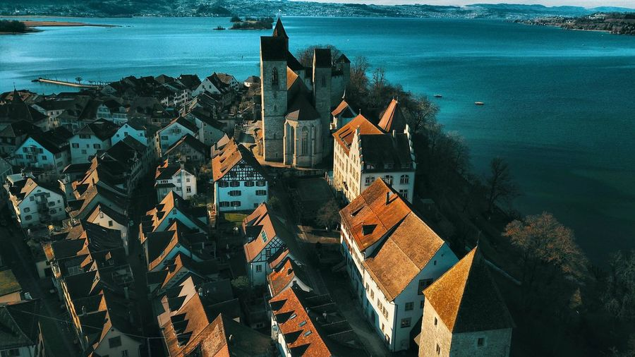 Rapperswil Schweiz Swiss Zürichsee Zürisee Schloss Rapperswil Castel Schloss Drone Photography Drone Shot Droneoftheday Drone  Architecture Building Exterior Built Structure Sea High Angle View Water No People Outdoors Day Residential Building Town Cityscape City Horizon Over Water Nature Sky