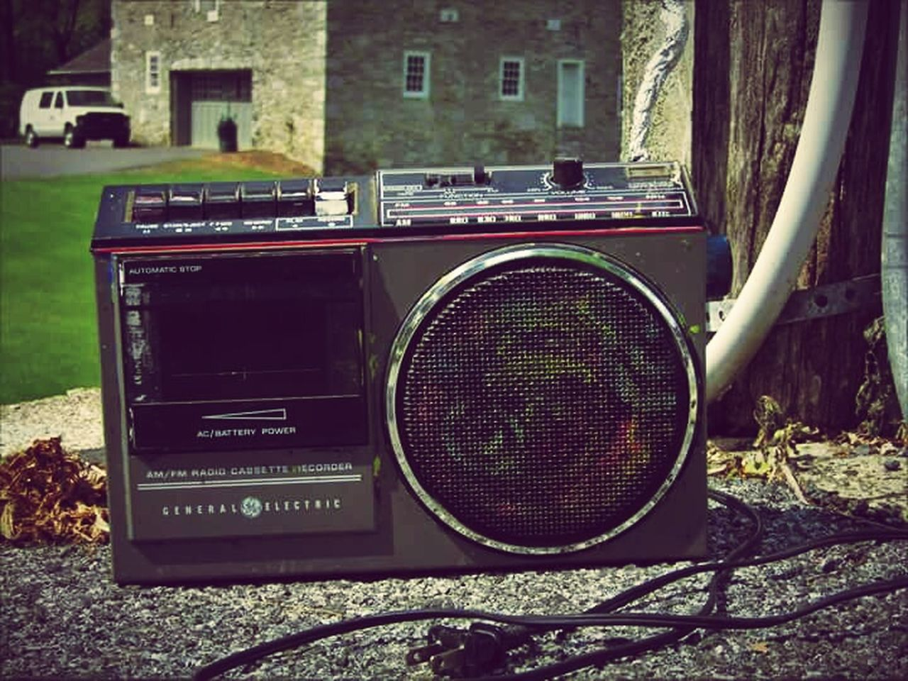 retro styled, music, old-fashioned, day, technology, tree, no people, outdoors, close-up