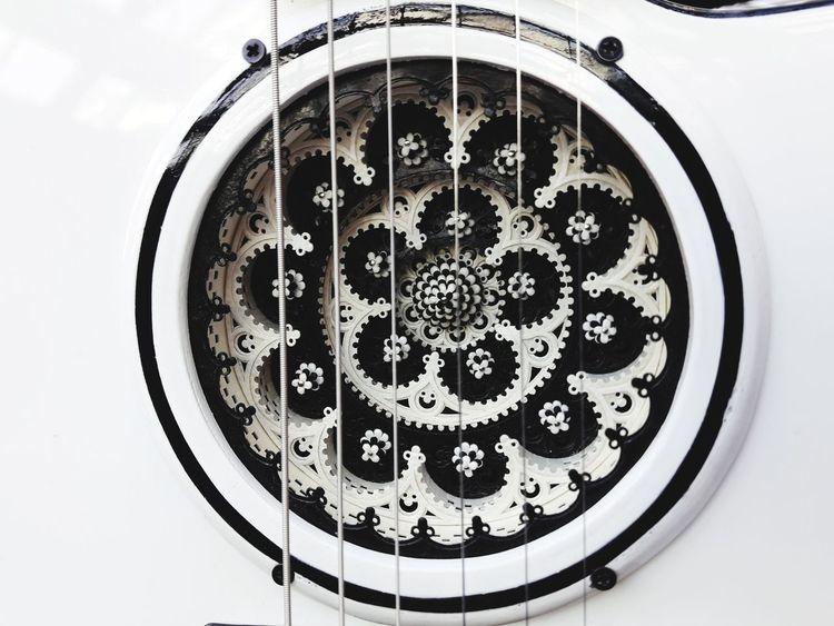 White Guitar Guitar Hole Handwork Art And Craft Guitar Design Guitar Details Guitar Ornament The Holy Grail Guitar Show Guitar Love Guitar Guitar Hole Close-up Geometric Shape Circle Shape ArtWork Art Carving - Craft Product