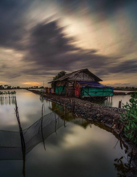 Sunrise at Tangerang Water Sky Cloud - Sky Outdoors Architecture Long Exposure Landscape House Architecture first eyeem photo