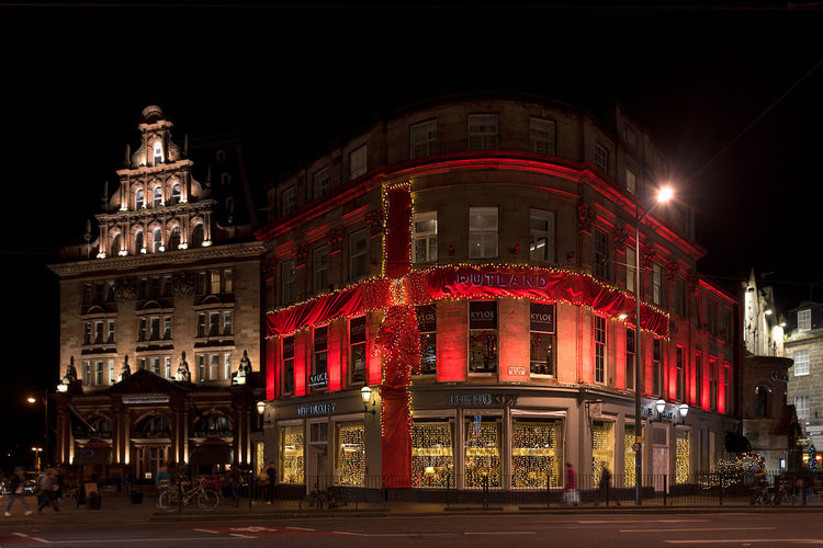 The Rutland Luxury Hotel in Edinburgh decorated as a present at Christmas time. Christmas Lights Edinburgh Architecture Building Exterior Built Structure Christmas Decoration Christmas Present City Decoration Festive Illuminated Night Nightlife No People Outdoors Rutland The Rutland Hotel
