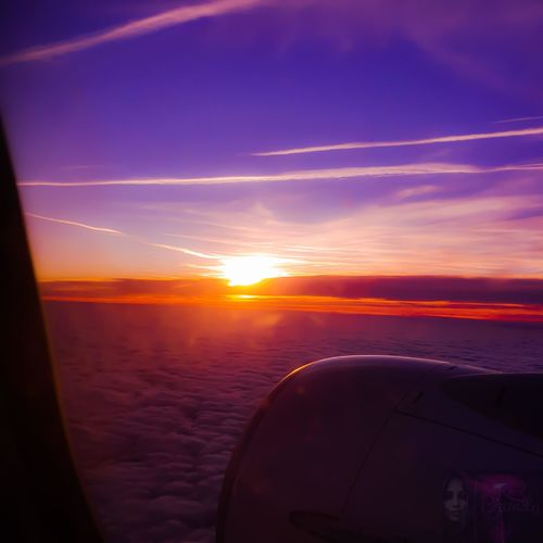 Airplane Commercial Airplane Aerospace Industry Sunset Flying Cockpit Air Vehicle