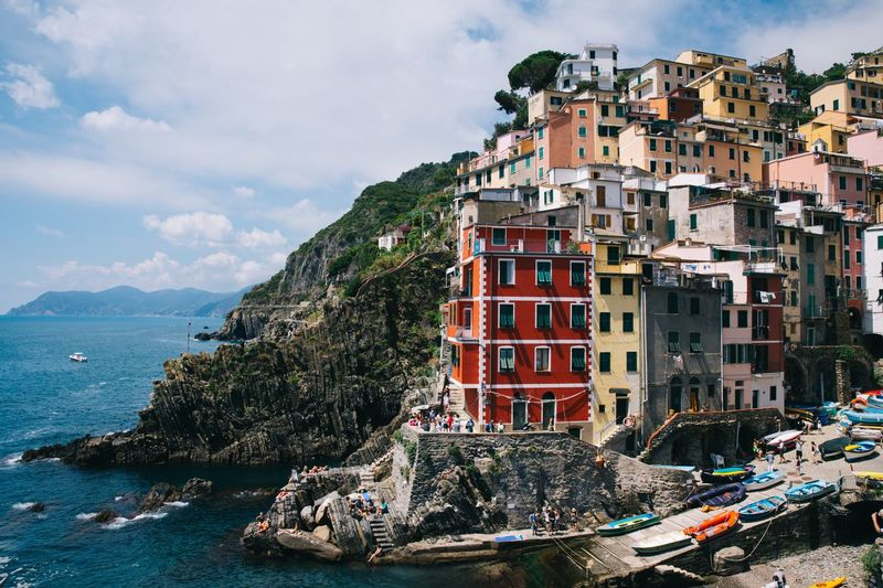 Summer Italy Water Architecture Boat Built Structure Sea Sky Mountain Waterfront Tranquil Scene Day Outdoors Colorful Travel Destinations Cinque Terre Traditional Sea View Seaside Landscape Village