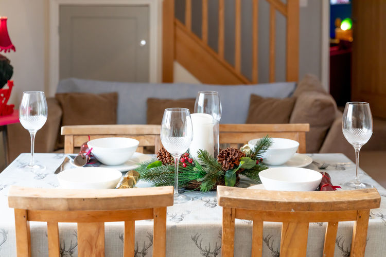 High angle view of place setting on table at home