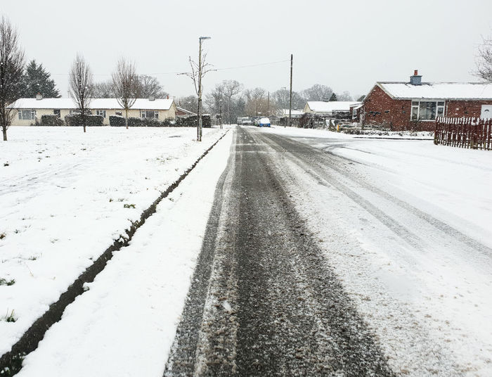 Snow Cold Temperature Winter Road White Color Snowing Outdoors No People