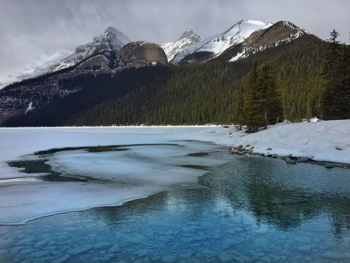 Scenic view of frozen lake and snow covered mountains