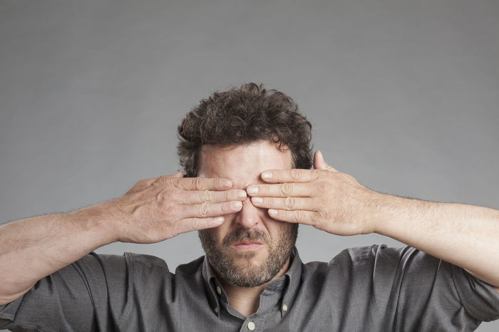 Hands Man Negative Not Senses Beard Close-up Closed Eyes Front View Human Hand Impairment Male Men Mood One Person People Portrait Seeing Studio Shot Visual Watching
