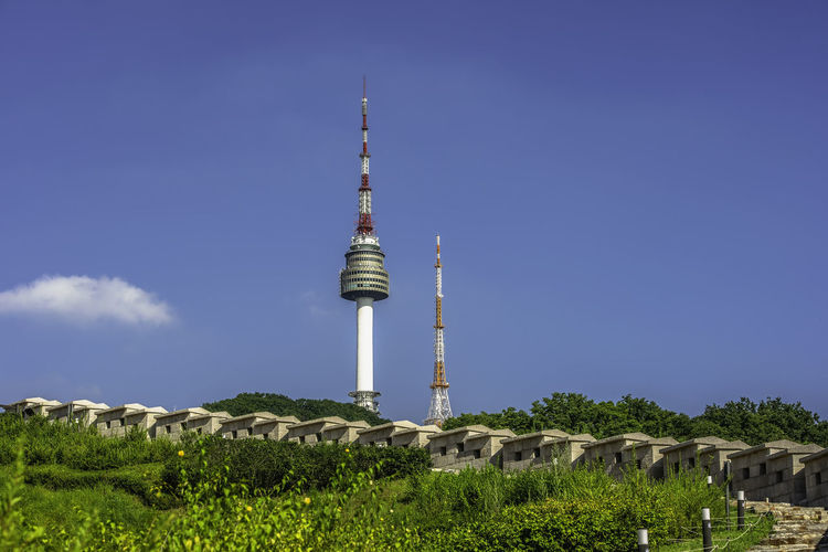 Seoul tower,Namsan tower in korea Architecture Broadcasting Building Exterior Built Structure Communication Connection Global Communications Nature No People Outdoors Plant Sky Spire  Tall - High Technology Television Industry Tourism Tower Travel Travel Destinations Tree