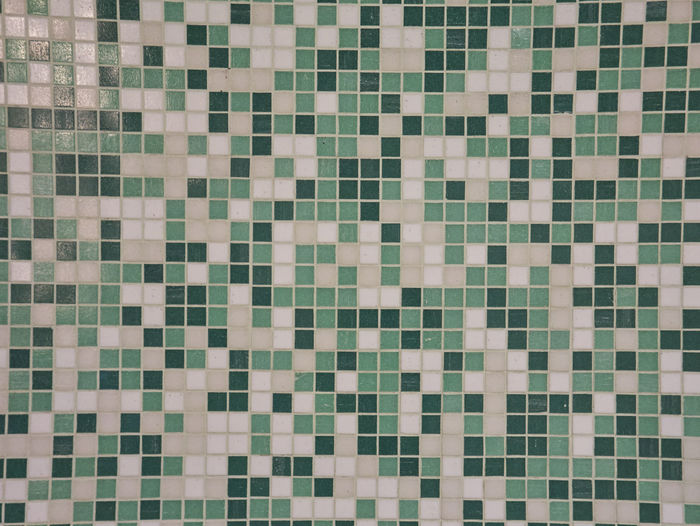 White and green mosaic wall