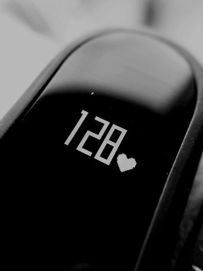 Slow down baby No People Close-up Black Color Blackandwhite Black And White Black & White Black&white Macro Close Up Technology Pixels Heart Rate Heart Rate Monitor Xiaomi Mi Mi Band 2 Numbers