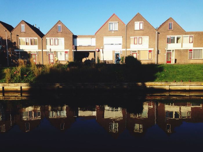 Simmetrical Reflection - Water Reflections Water Canals Houses Blue Sky