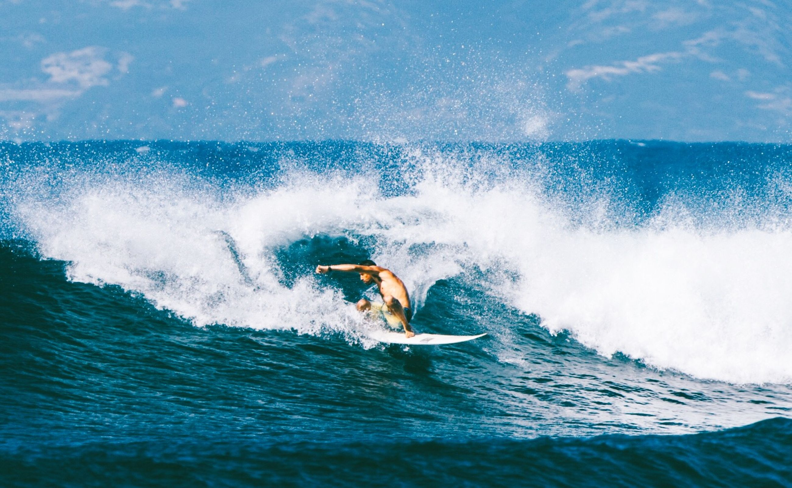 water, sea, waterfront, wave, leisure activity, motion, splashing, lifestyles, surfing, blue, surf, men, swimming, adventure, vacations, surfboard, enjoyment, extreme sports