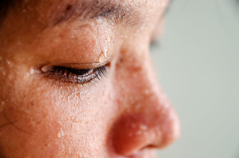 Close-Up Of Sweat On Face