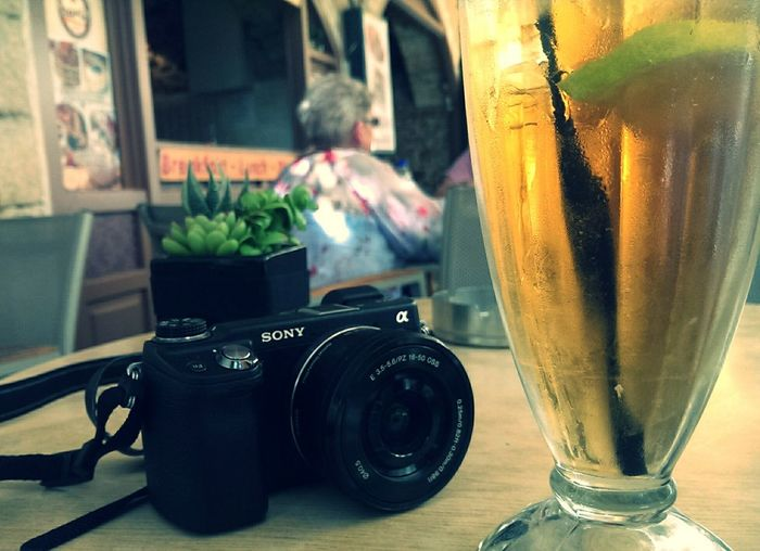 Iced tea and camera.. Ready to go for a hot day in Crete! Silvia In Crete Travelling Relaxing