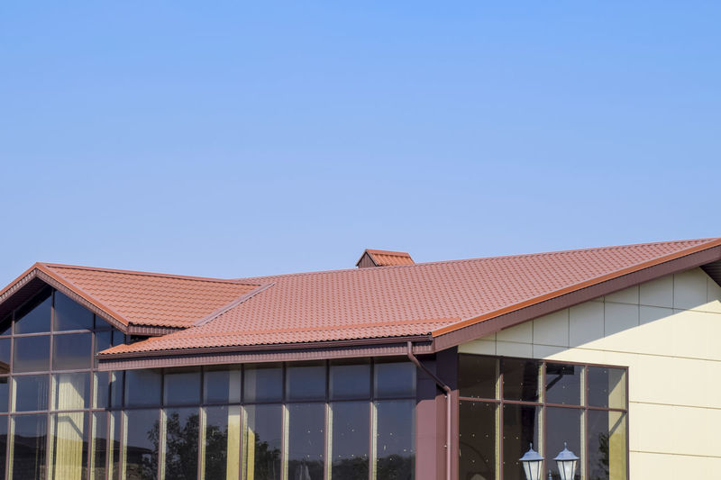 metal profile corrugated roof Architecture Blue Building Exterior Built Structure Clear Sky Copy Space Day Metal Profile Corrugated Roof No People Outdoors Roof Sky