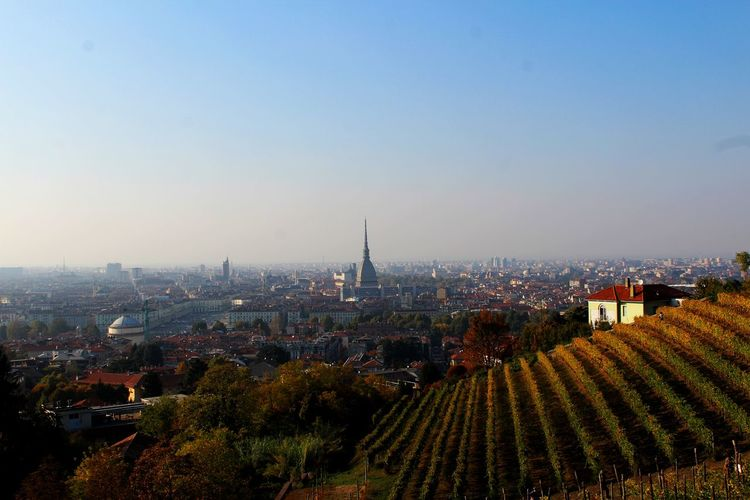 High angle view of buildings in turin