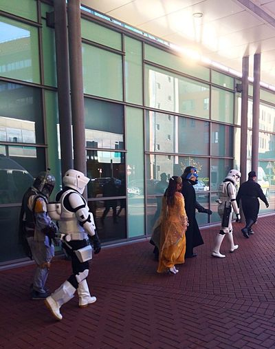 Celeb Spotting at The Hospital Stormtroopers Stormtrooper Boba Fett Bobafett Darth Vader Darthvader Cosplay Costume Star Wars Full Length Indoors  People Adult Day Young Adult Adults Only