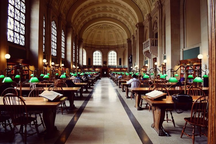 Publiclibrary Students Books Green Lamps GreatHall Wood Clock Frames Balkony Architecture EyeEmNewHere