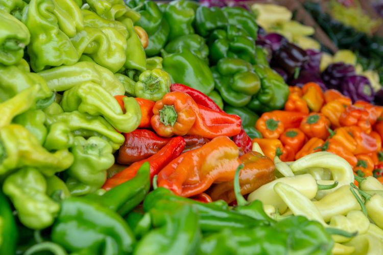 Full frame shot of chopped vegetables in market