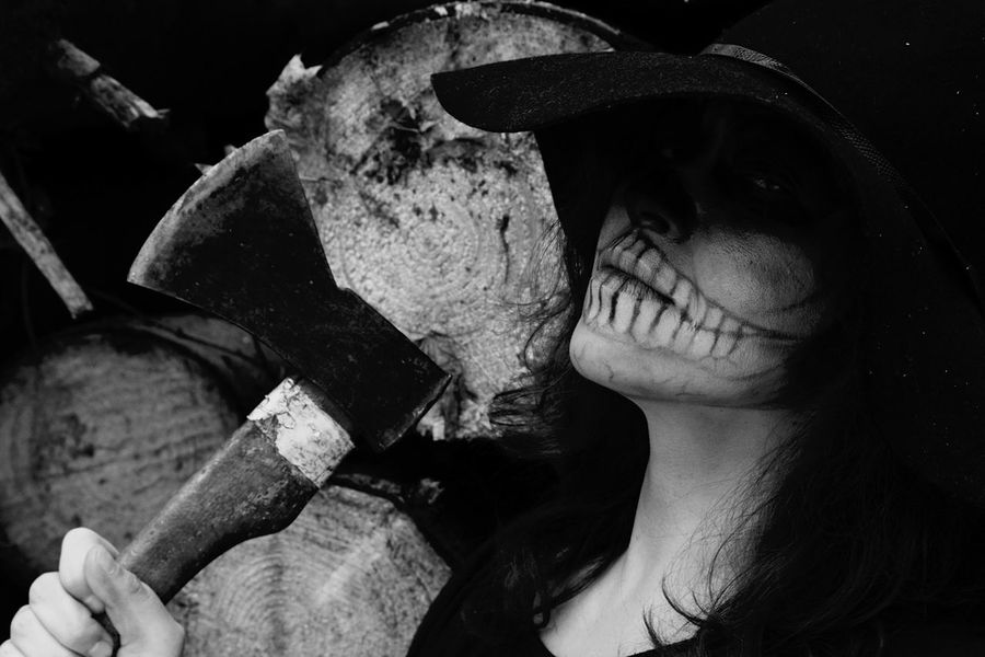 Zombiegirl  Halloween Spooky Atmosphere Looking At Camera Deathly Halloween Makeup Into The Woods Danger Insanity Spooky Skull Face Zombie Makeup Scary Monochromatic Monochrome Black & White Blackandwhite Black And White Skull Dead Zombie Skullface Skullhead Darkness And Light Axe