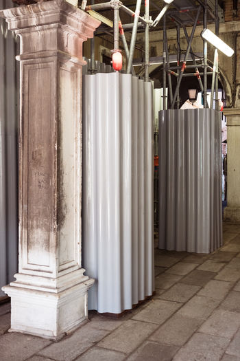 Absence Architectural Column Architecture Built Structure Business City Colonnade Communication Day In A Row Indoors  Machinery No People Striped Technology Venice White Color