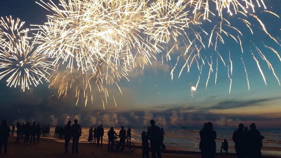 43 Golden Moments Sea Jurmala Latvia Fireworks Gold Sky Sillouette Sunset Sunset Silhouettes People
