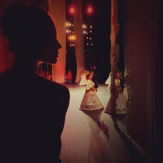 Elegance Everywhere with The Nutcracker. New York City Ballet Beauty Showcase: December Shadow Close-up Rehearsing Ballet Silhouette