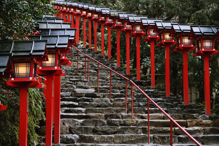 Lamps By Staircase Leading Towards Kifune Shrine