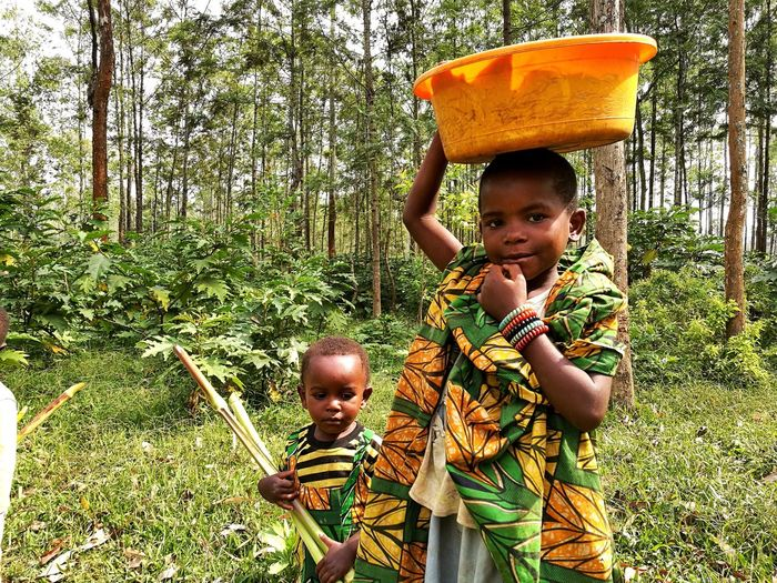 Bambini al lavoro in Congo Landscape Working Congo Childhood Child Girls Looking At Camera Two People Boys Portrait People Cheerful Tree Happiness Cute Smiling Togetherness Real People Outdoors Females Day Children Only Adult