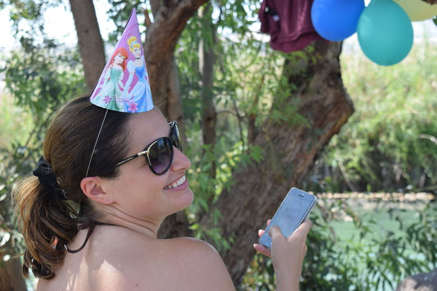 Birthday Birthday Party Birthdaygirl Casual Clothing Celebrating Celebration Close-up Focus On Foreground Girl Happy People Headshot Leisure Activity Lifestyles Nature Outdoors Part Of People Together Person Perspective Profile Smiling Sunlight Tree Tree Trunk Internet Addiction