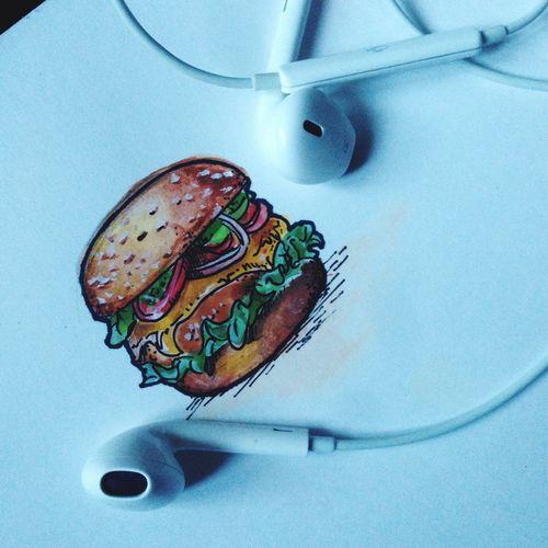 Drawing Macdonalds Burger Fresh Earpods Violadem
