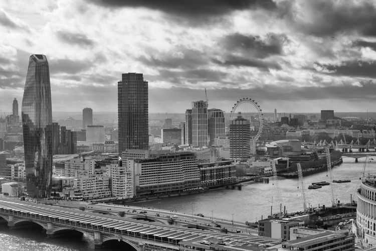 black & white view from St. Paul Building Exterior Architecture Built Structure Outdoors Transportation Bridge - Man Made Structure Urban Skyline Bridge Tall - High Building Office Building Exterior City Sky Cloud - Sky Financial District  Day Modern Skyscraper London LONDON❤ Uk Great Britain Blackandwhite Black And White Bw_collection