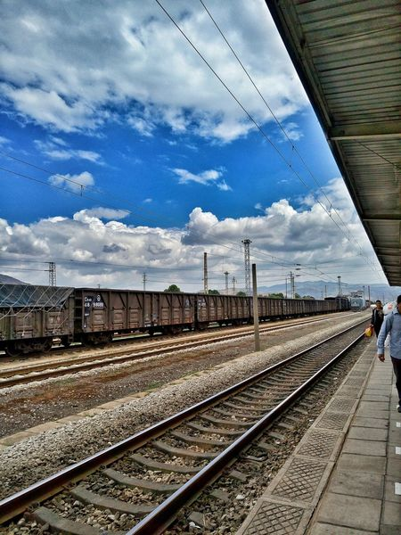 Walking Alone... The Blue Sky Platform Clouds And Sky