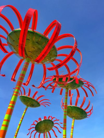 Iphonography Giant Metal Flowers Flowers Red, Green, Yellow Metal Flowers Fun Flowers Seattle Seattle Center