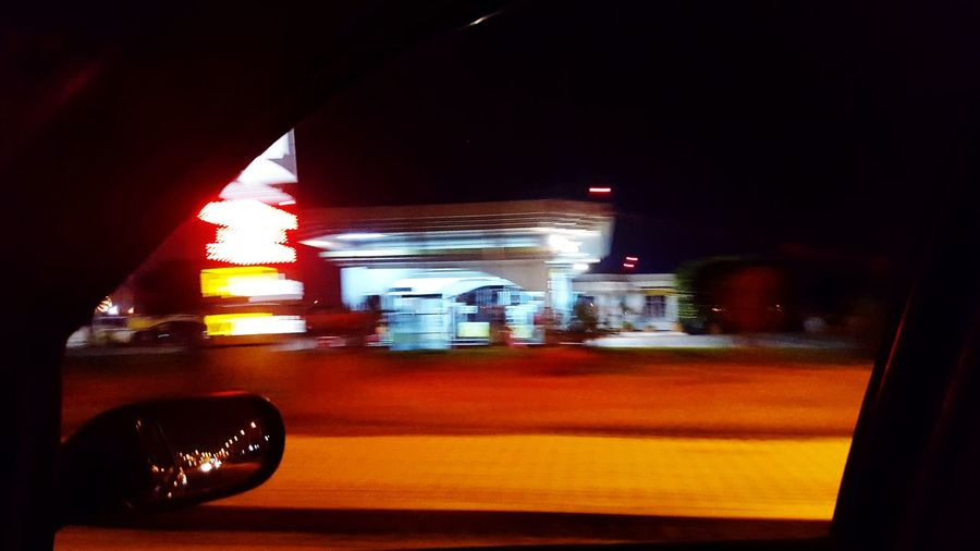 Night Lights Nightlife Gas Station Gas Station At Night Illuminated Red Close-up Red Light Moving Side-view Mirror Car Car Point Of View