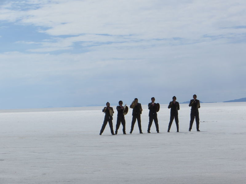 Band Beauty In Nature Bolivia Deserts Around The World Friendship Full Length Group Of People Leisure Activity Men Musician Nature People And Places Person Playing Music Rear View Remote Scenics Solitude TakeoverContrast Togetherness Tranquil Scene Tranquility Uyuni Salt Flat Vacations Dramatic Angles