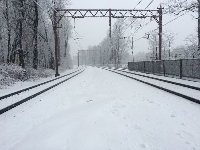 View of snow covered railroad track