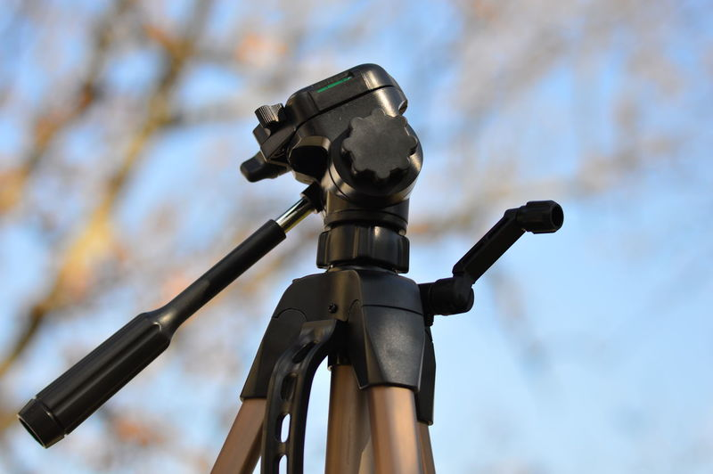 Low angle view of camera on bicycle