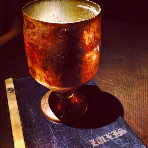 Luxis cold beer in a copper goblet Japan Holiday Luxis Food