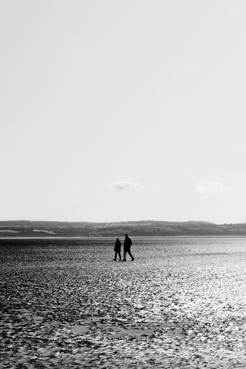 Silhouette people walking at beach against clear sky