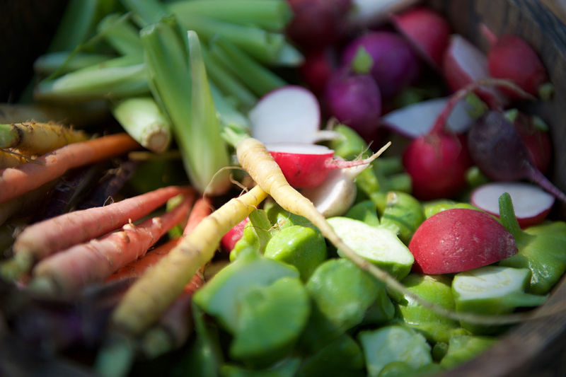 Close-up of fresh vegetables in container