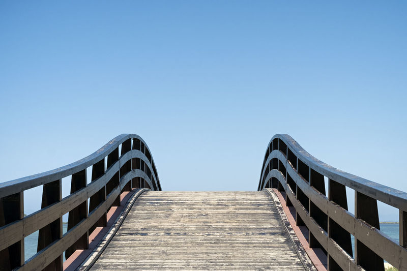 Footbridge Architecture The Way Forward Bridge Footbridge Connection Outdoors Diminishing Perspective Clear Sky Sky Direction Pedestrian Bridge Railing Wood - Material Day No People Copy Space Sunny Way Concept Conceptual Backgrounds Lefkada Travel Journey
