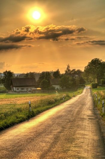 Sunset Nature Houses Contry Living Contry Road Sky Landscape Nice Day Trees Green
